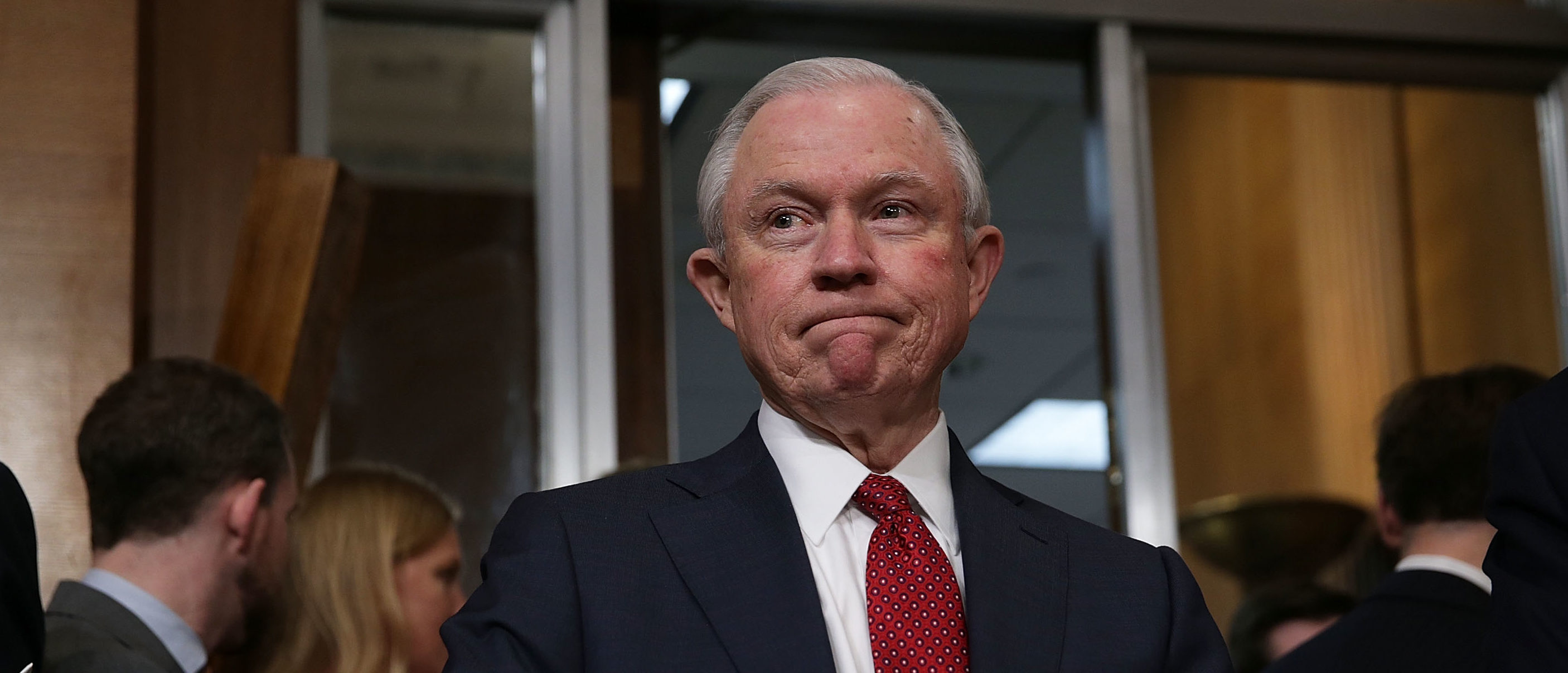 WASHINGTON, DC - FEBRUARY 02: U.S. Sen. Jeff Sessions, a committee member, waits for the beginning of a meeting of Senate Environment and Public Works Committee February 2, 2017 on Capitol Hill in Washington, DC. Committee chairman Sen. John Barrasso (R-WY) suspended the rules and passed the confirm of Oklahoma Attorney General Scott Pruitt to become the next administrator of Environmental Protection Agency with only Republican votes, after Democratic members have boycotted the meeting for a second day. The confirmation will need to be voted on later by the full Senate. (Photo by Alex Wong/Getty Images)