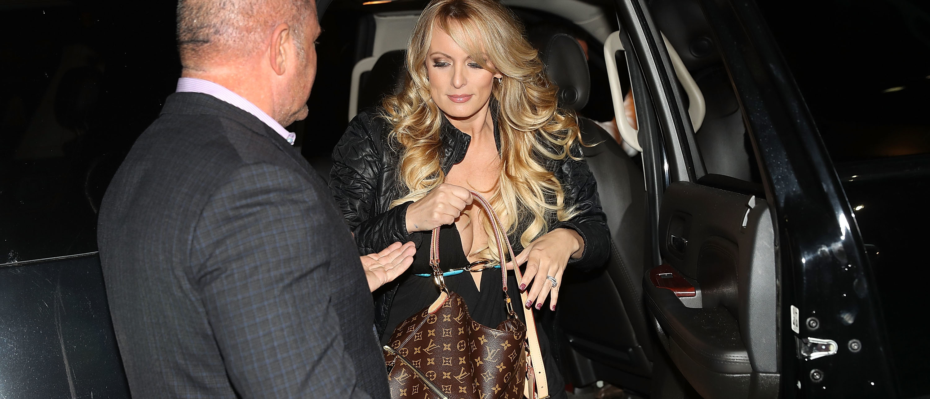 The actress Stephanie Clifford, who uses the stage name Stormy Daniels, arrives to perform at the Solid Gold Fort Lauderdale strip club on March 9, 2018 in Pompano Beach, Florida. (Photo by Joe Raedle/Getty Images)