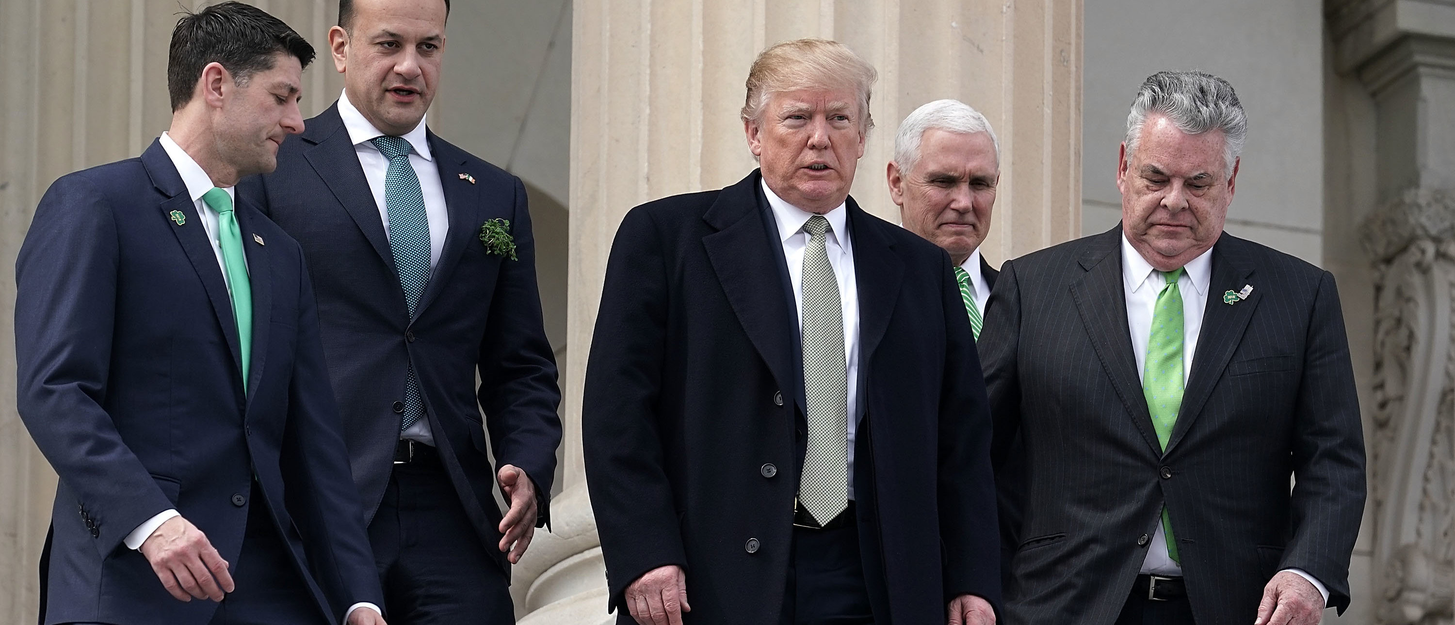 WASHINGTON, DC - MARCH 15: (L-R) U.S. Speaker of the House Rep. Paul Ryan (R-WI), Irish Taoiseach Leo Varadkar , President Donald Trump, U.S. Vice President Mike Pence, and U.S. Rep. Peter King (R-NY) walk down the House steps at the Capitol after the Friends of Ireland luncheon March 15, 2018 on Capitol Hill in Washington, DC. Trump and Varadkar attended the annual luncheon hosted by Speaker Ryan, to commemorate St. Patrick's Day. (Photo by Alex Wong/Getty Images)