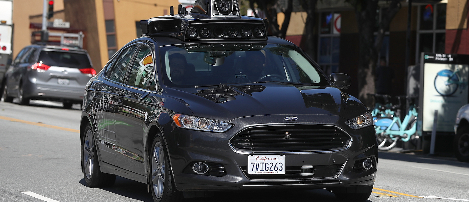 An Uber self-driving car drives down 5th Street on March 28, 2017 in San Francisco, California. (Photo: Justin Sullivan/Getty Images)