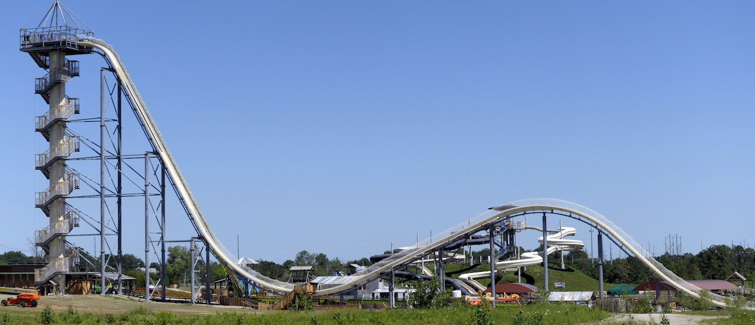 A general view of the Verruckt waterslide at the Schlitterbahn Waterpark in Kansas City, Kansas July 8, 2014. (REUTERS/Dave Kaup/File) | Verruckt Designers Face Murder Charges