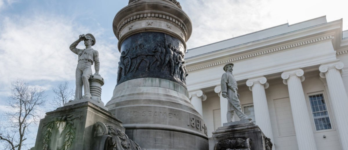 Montgomery, Alabama, USA - January 20, 2018: Close up of the statues representing the Confederate Navy and Confederate Infantry on the Confederate Memorial Monument at the Alabama State Capital. (Shutterstock/JNix)