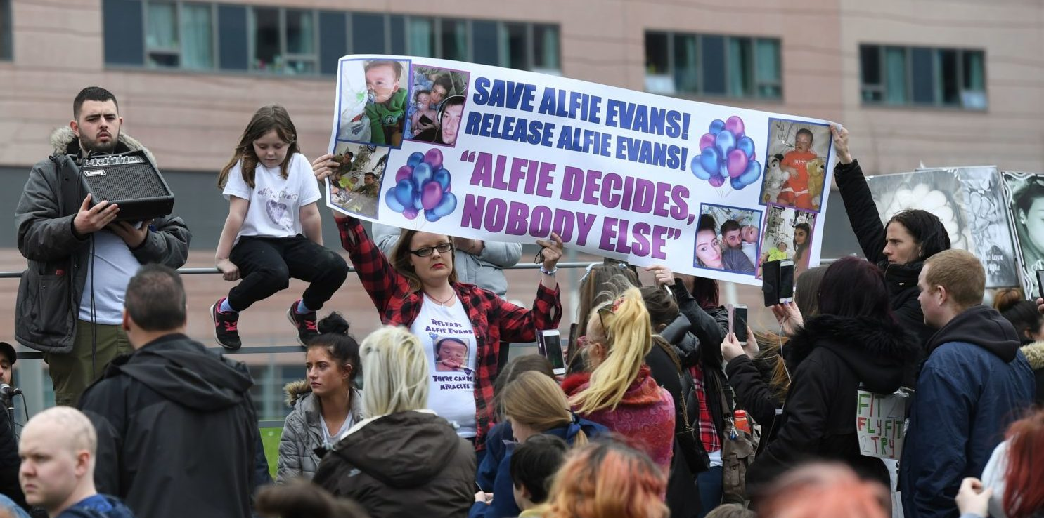 Alfie Evans, who is 22 months old, has a rare degenerative neurological condition which has not been definitively diagnosed. His parents, Tom Evans and Kate James, have fought a legal battle to stop the Alder Hey Children's Hospital in Liverpool, northwest England, from turning off his ventilator -- which would quickly end his life. Doctors at Alder Hey have said life-support treatment should stop because further treatment was futile. This was accepted by Britain's High Court and upheld in the Court of Appeal and then in the Supreme Court -- the ultimate court in Britain. ( PAUL ELLIS/AFP/Getty Images)