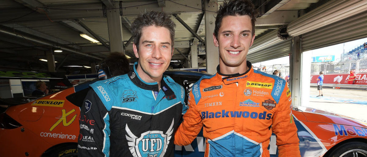 ADELAIDE, AUSTRALIA - MARCH 02: (L-R) Arie Luyendyk Jr. from the Bachelor poses for a photo with Nick Percat driver of the #8 Brad Jones Racing Commodore ZB after a hot lap during qualifying for Supercars Adelaide 500 on March 2, 2018 in Adelaide, Australia. (Photo by Daniel Kalisz/Getty Images)