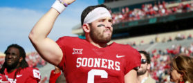 NORMAN, OK - NOVEMBER 25: Quarterback Baker Mayfield #6 of the Oklahoma Sooners gestures to the crowd after Senior Day announcements before the game against the West Virginia Mountaineers at Gaylord Family Oklahoma Memorial Stadium on November 25, 2017 in Norman, Oklahoma. Oklahoma defeated West Virginia 59-31. (Photo by Brett Deering/Getty Images)