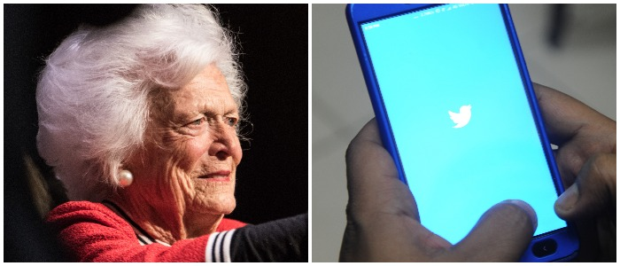Barbara Bush Twitter Left: DIPTENDU DUTTA/AFP/Getty Image Right: Photo by Sean Rayford/Getty Images