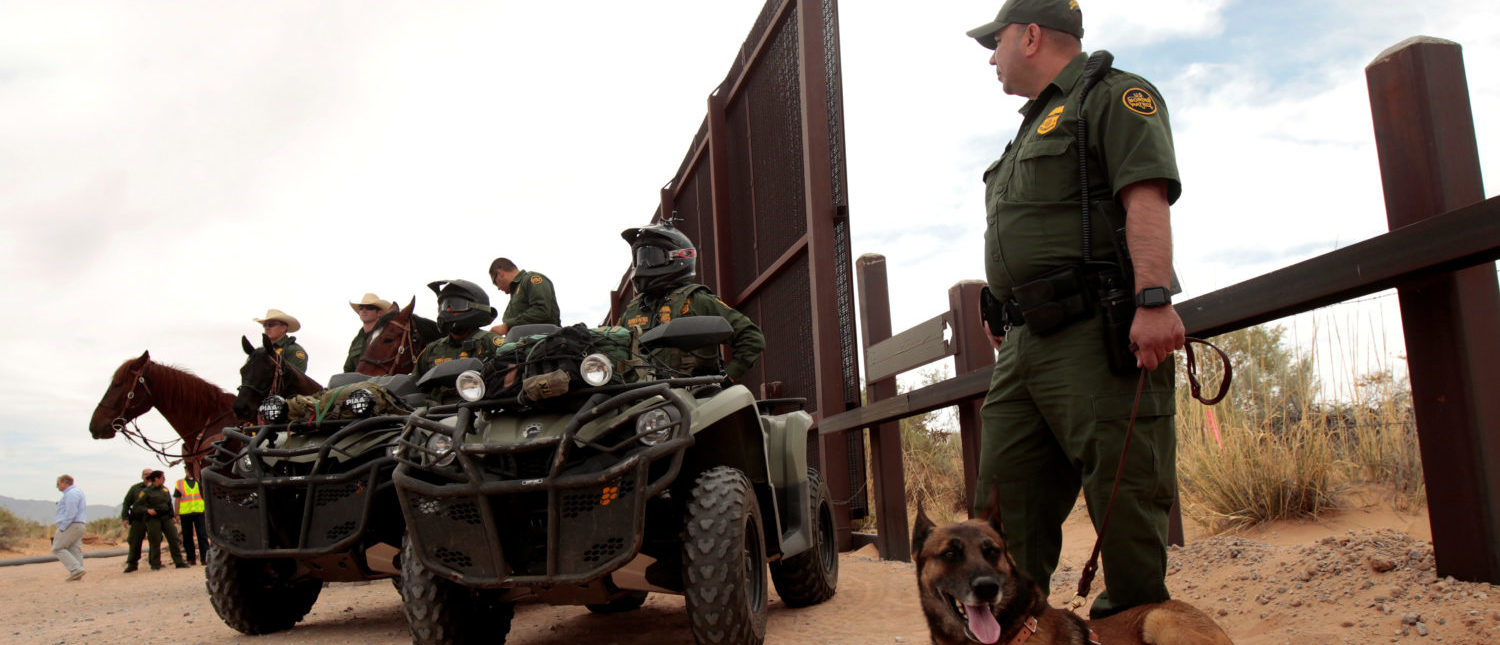 Border Patrol agents keep watch during the official start for the construction of new bollard wall to replace 20-miles of primary vehicle barriers in Santa Teresa, New Mexico, United States April 9, 2018. REUTERS/Jose Luis Gonzalez