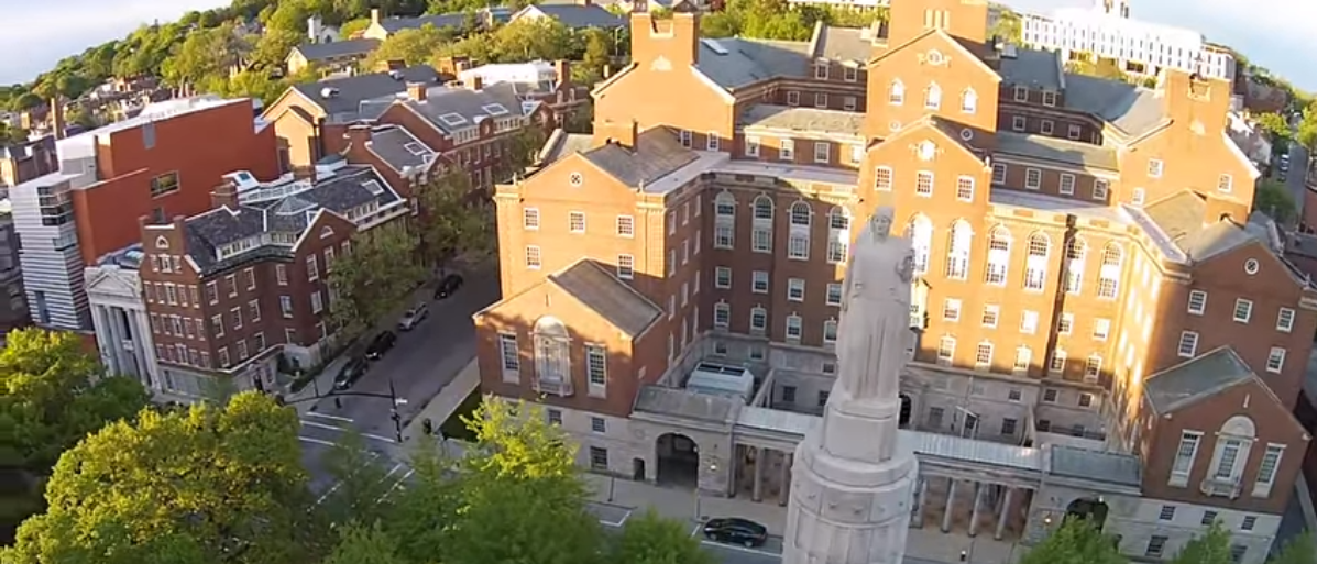 Pictured is an aerial view of Brown University. (Photo Credit: YouTube/Soaring Camera)