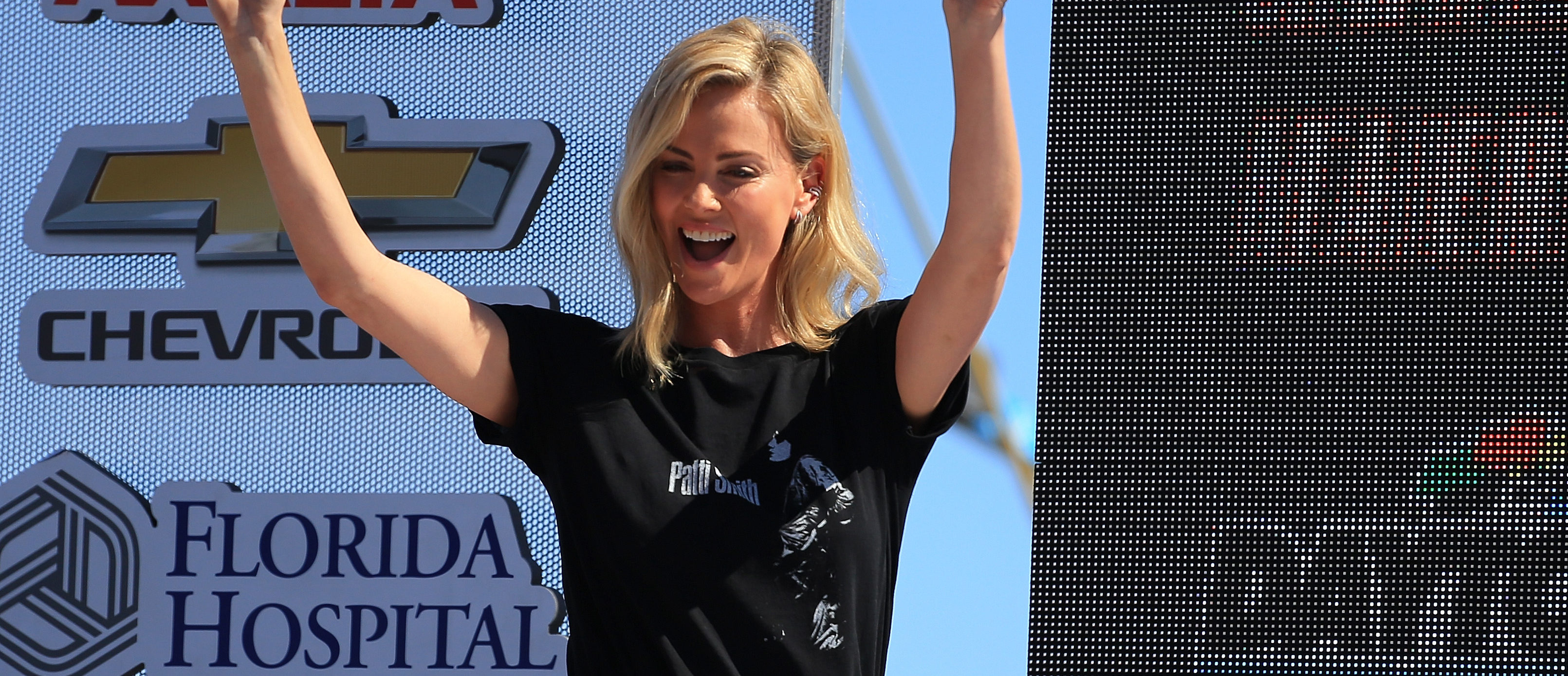 Actress Charlize Theron is introduced prior to the Monster Energy NASCAR Cup Series 60th Annual Daytona 500 at Daytona International Speedway on February 18, 2018 in Daytona Beach, Florida. (Photo by Daniel Shirey/Getty Images)