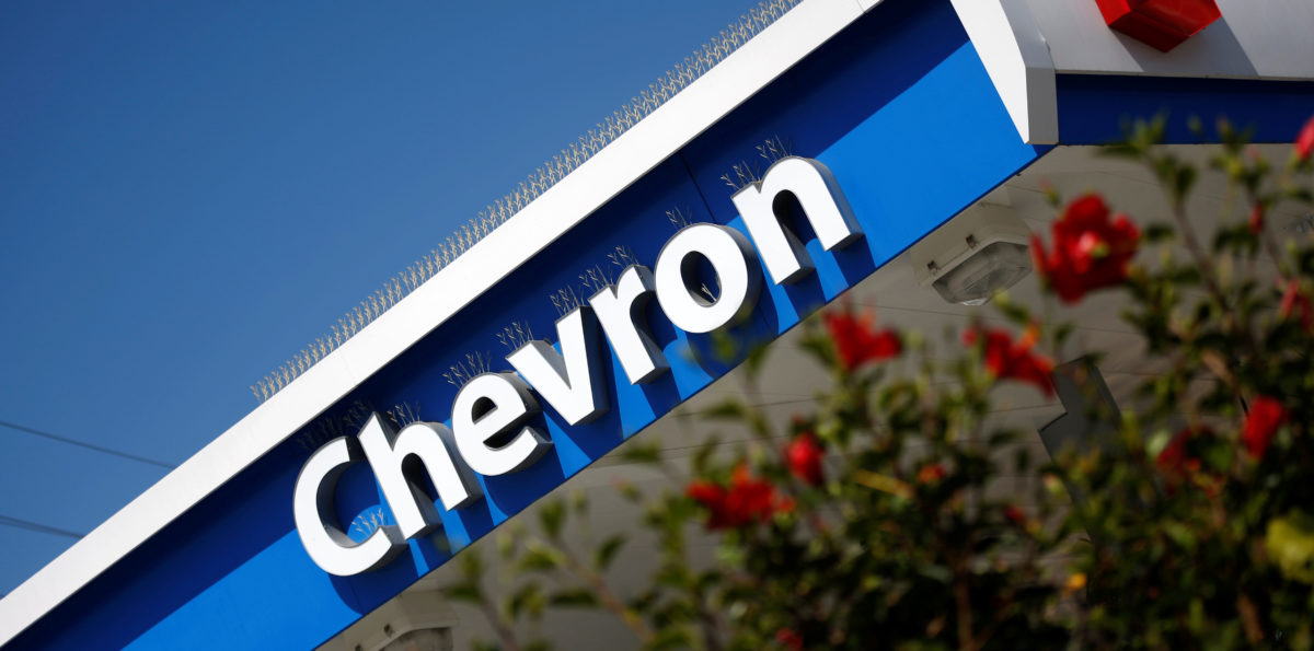 The logo of Dow Jones Industrial Average stock market index listed company Chevron (CVX) is seen in Los Angeles, California, United States, April 12, 2016. REUTERS/Lucy Nicholson   Filmmakers Target Chevron Lawsuit