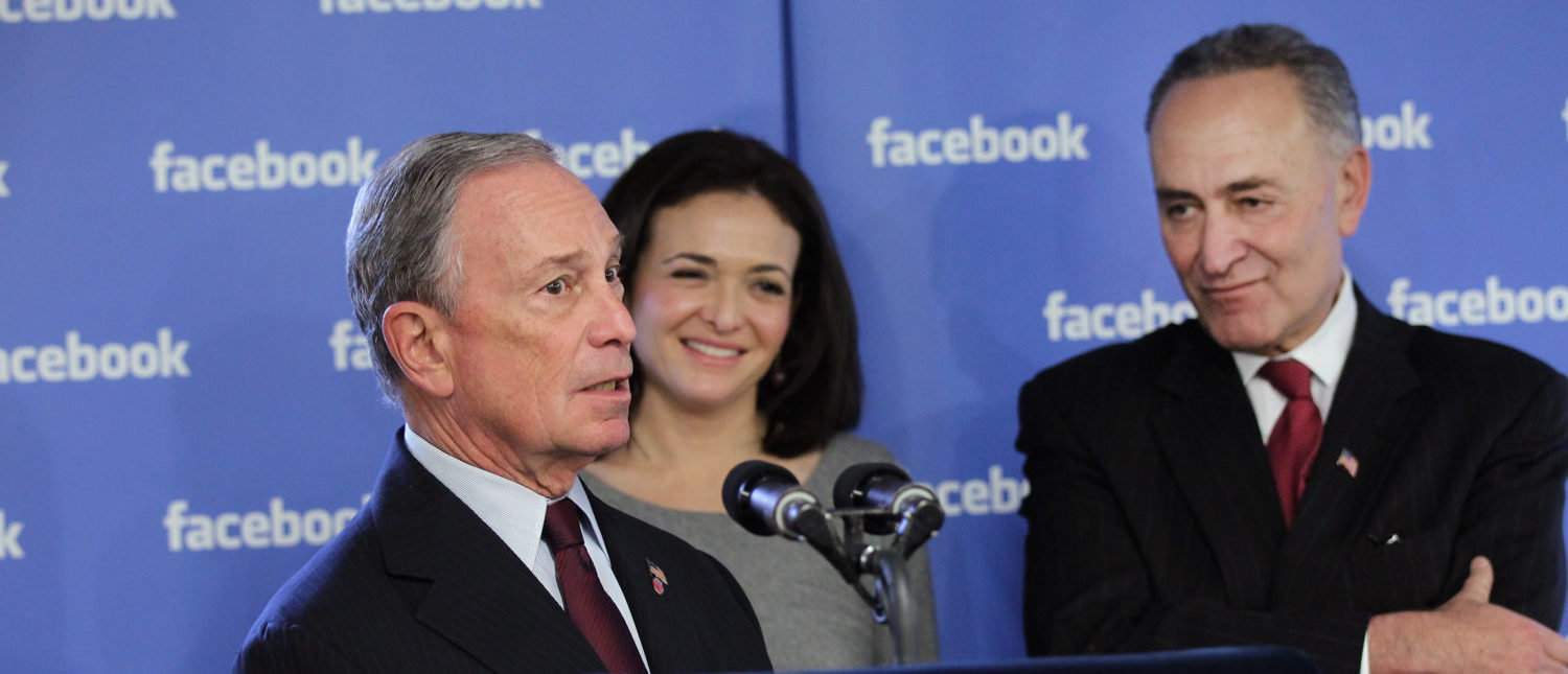 NEW YORK, NY - DECEMBER 02: New York City Mayor Michael Bloomberg (L) and U.S. Sen. Charles Schumer (D-NY) (R) attend a news conference at New York's Facebook headquarters with Sheryl Sandberg, Facebook's chief operating officer (C) on December 2, 2011 in New York City. Bloomberg and Schumer announced that Facebook will be opening a center for engineers in New York City in 2012. Facebook, the world's largest social networking company, is expected to file for an IPO in April, and a public offering could reach a valuation of up to $100 billion and raise $10 billion. (Photo by Spencer Platt/Getty Images)