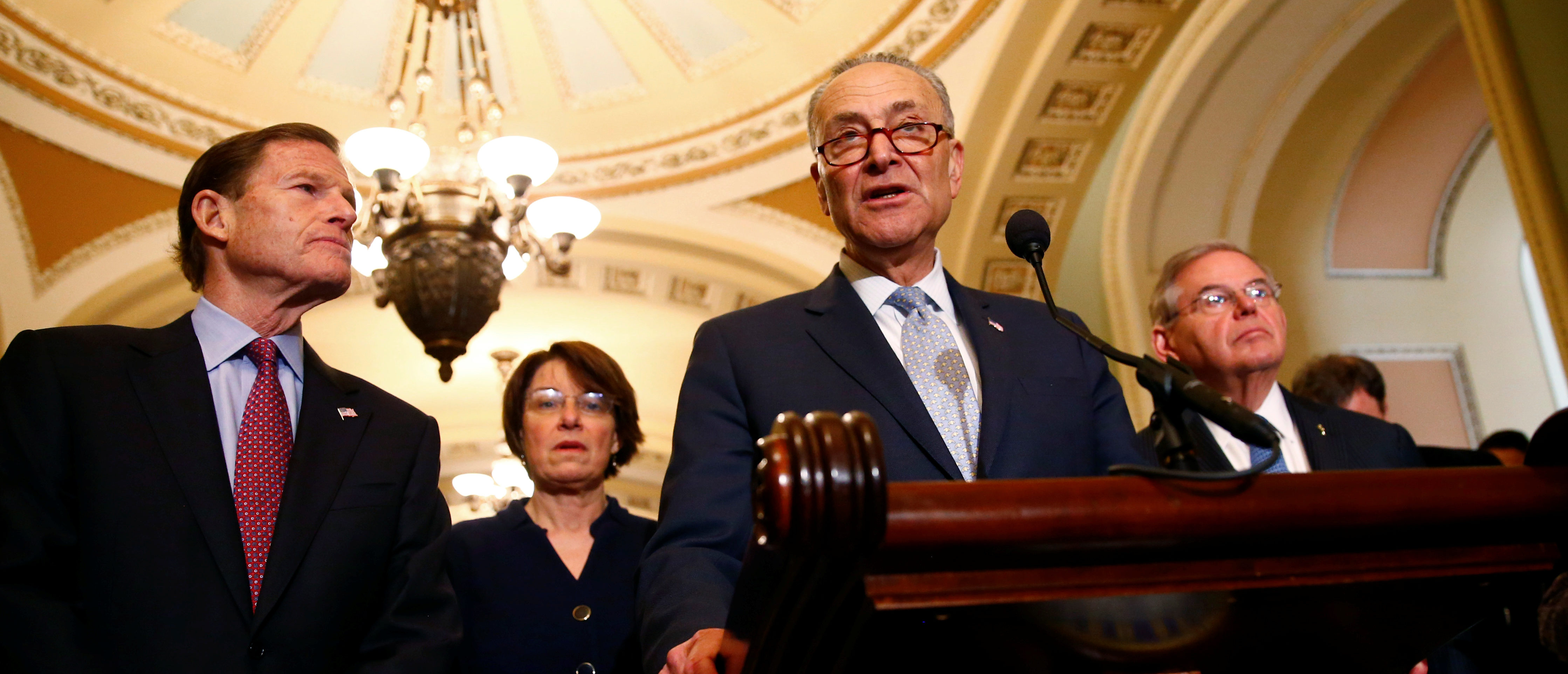 U.S. Senate Minority Leader Chuck Schumer (D-NY) speaks following the weekly policy luncheons at the U.S. Capitol in Washington, U.S. March 13, 2018. REUTERS/Eric Thayer | Dem Bill Calls On Pruitt To Resign