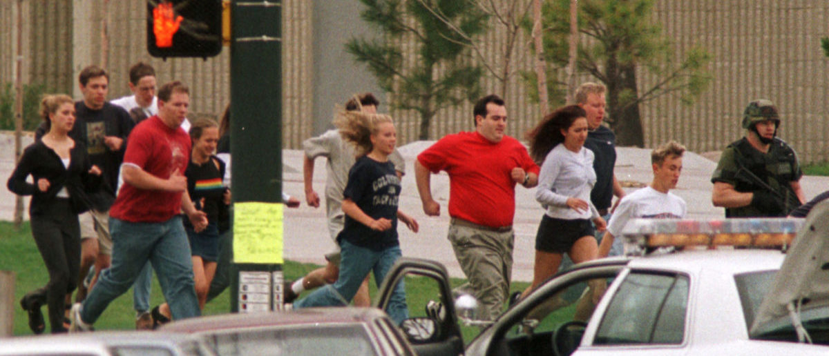 April 20, 1999: Two heavily armed teenagers Eric Harris and Dylan Klebold go on a rampage at Columbine High School in Littleton, Colorado, shooting 12 students and a teacher to death and wounding more than 20 others before taking their own lives. REUTERS/Gary Caskey/File Photo | It Is 19th Anniversary Of Columbine