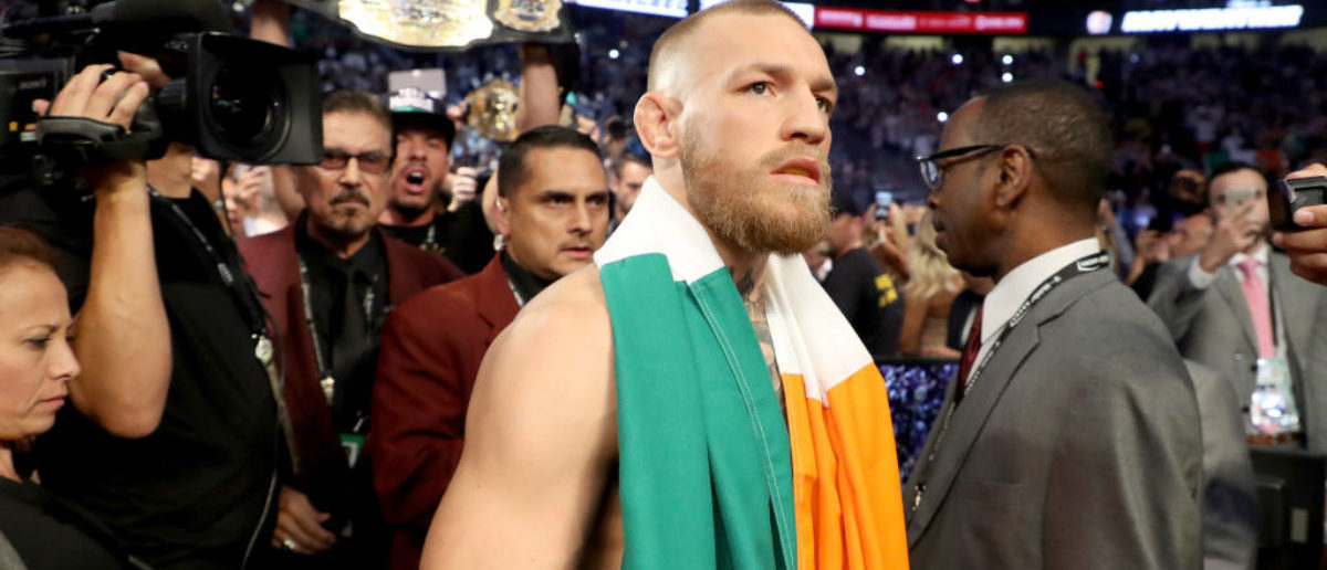 Conor McGregor walks to the ring prior to his super welterweight boxing match against Floyd Mayweather Jr. on August 26, 2017 at T-Mobile Arena in Las Vegas. (Photo by Christian Petersen/Getty Images)