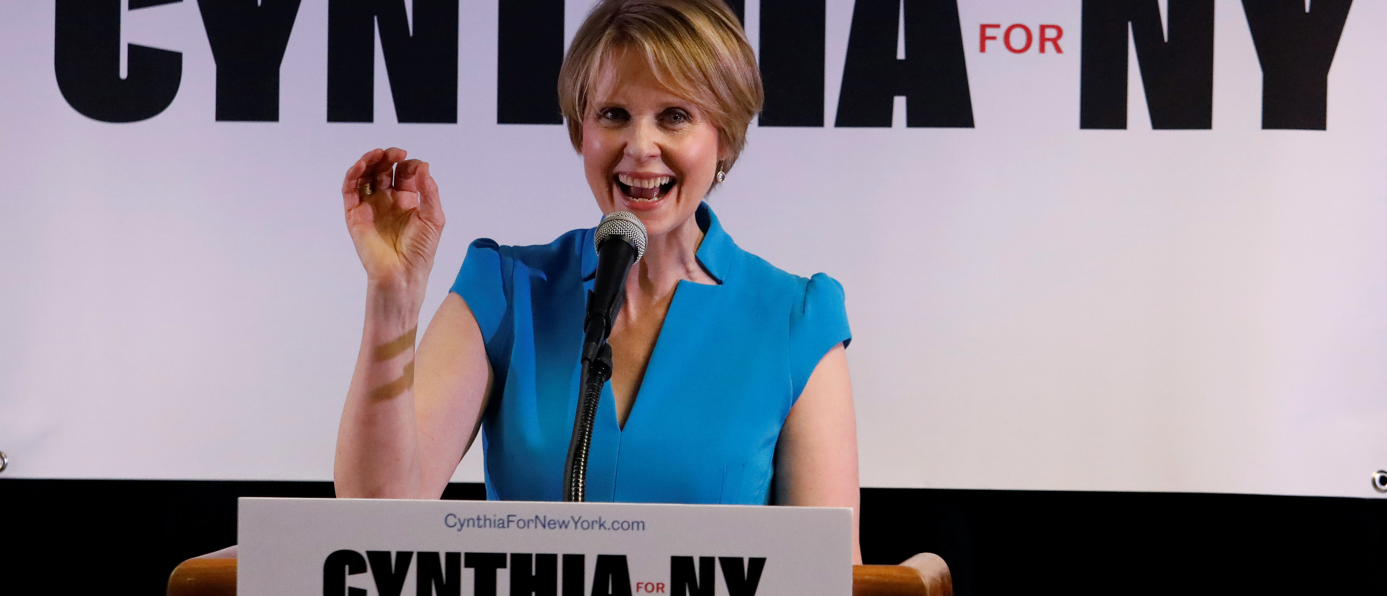 Actress Cynthia Nixon announces that she is running for Governor of New York at a campaign stop in Brooklyn