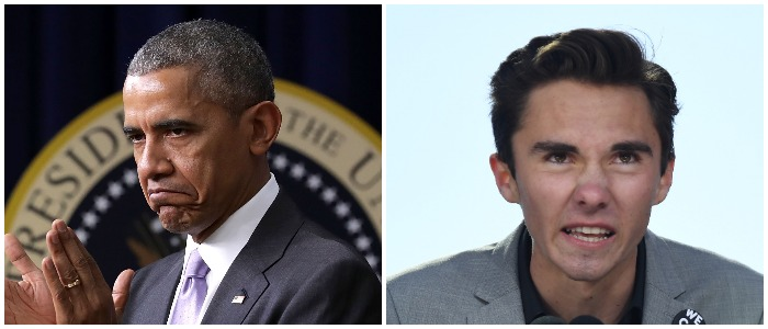 David Hogg Obama Left: Chip Somodevilla/Getty Images) Right: JIM WATSON/AFP/Getty Images