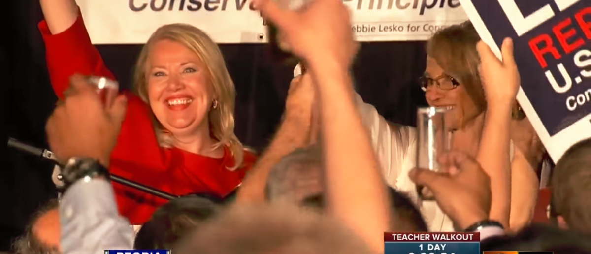 Debbie Lesko accepts victory in a speech at her home after winning the CD8 race -- YouTube Screenshot -- 12 News