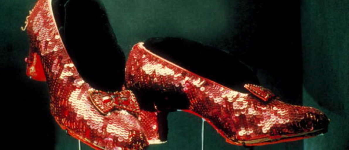 "UNITED STATES - JANUARY 01: red ruby shoes worn by Judy Garland as Dorothy in ""The Wizard of Oz"" on display at Smithsonian Museum. (Photo by Henry Groskinsky/The LIFE Images Collection/Getty Images) 