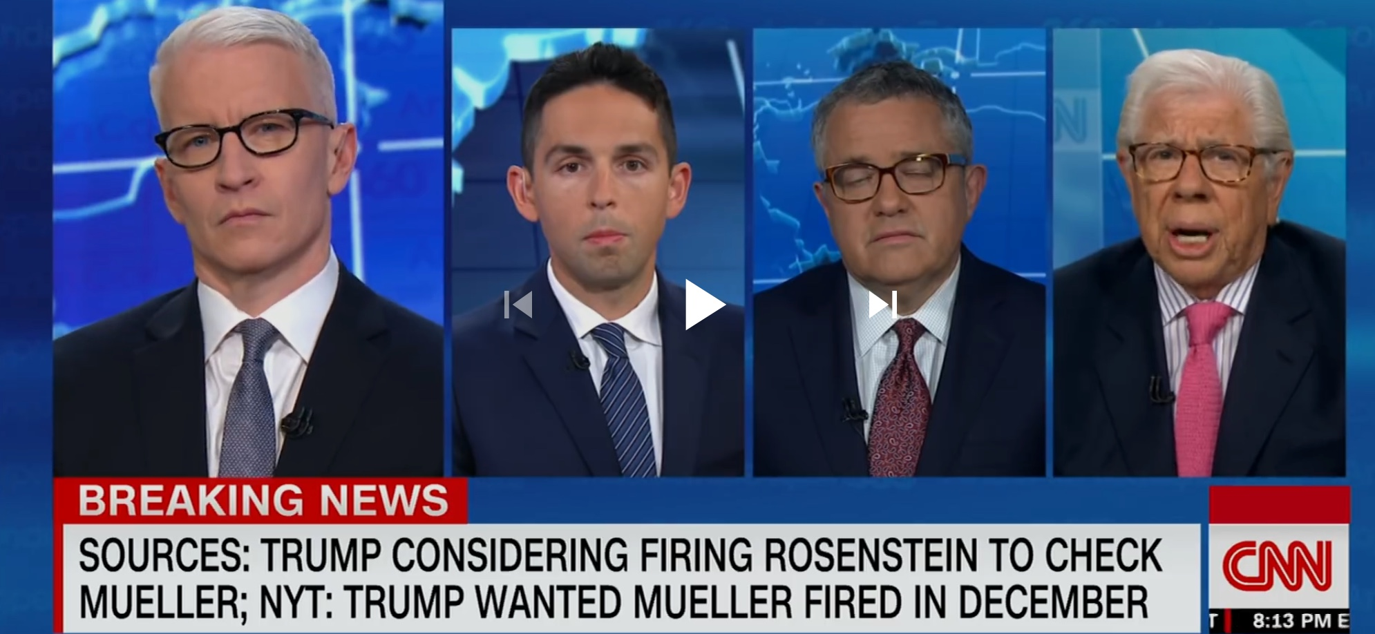 Carl Berstein (far right) is interviews by CNN's Anderson Cooper on Apr. 10, 2018. YouTube screen capture.