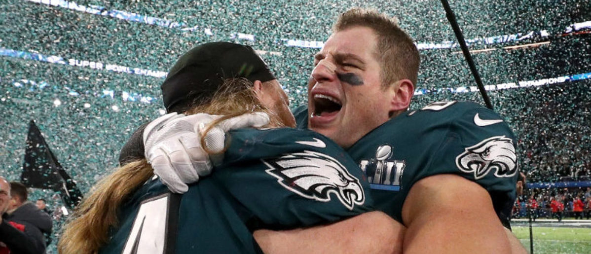 MINNEAPOLIS, MN - FEBRUARY 04: Brent Celek #87 of the Philadelphia Eagles celebrates after defeating the New England Patriots 41-33 in Super Bowl LII at U.S. Bank Stadium on February 4, 2018 in Minneapolis, Minnesota. (Photo by Patrick Smith/Getty Images)