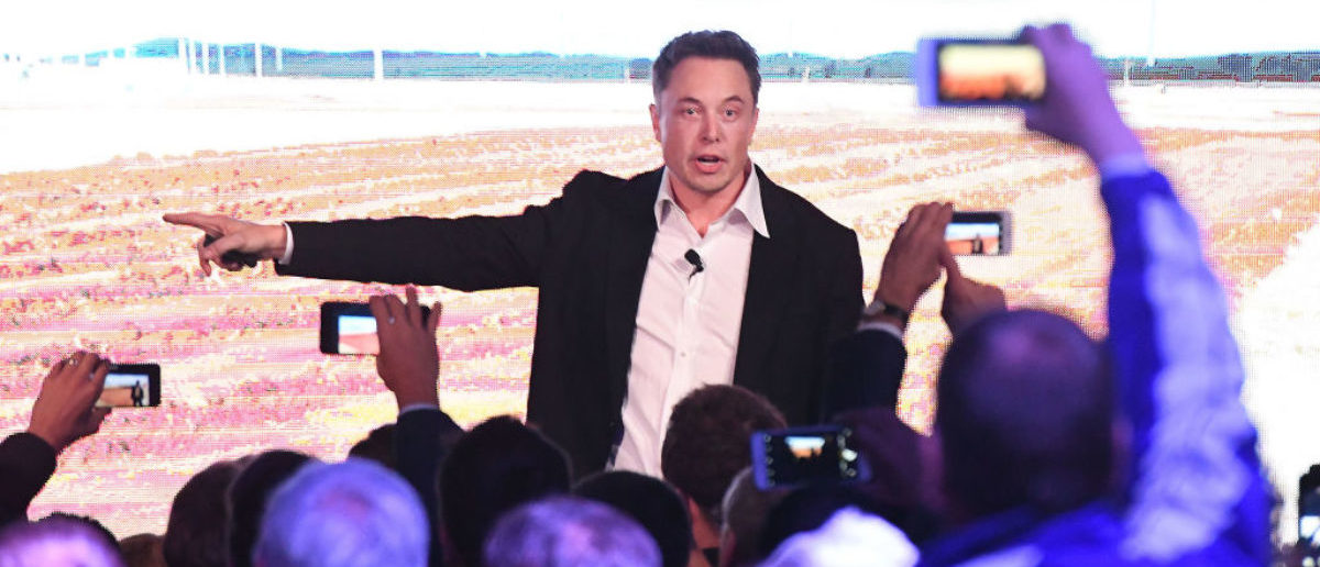 ADELAIDE, AUSTRALIA - SEPTEMBER 29: Elon Musk during his presenation at the Tesla Powerpack Launch Event at Hornsdale Wind Farm on September 29, 2017 in Adelaide, Australia. Tesla will build the world's largest lithium ion battery after coming to an agreement with the South Australian government. The Powerpack project will be capable of an output of 100 megawatts (MW) of power at a time and the huge battery will be able to store 129 megawatt hours (MWh) of energy. Tesla CEO Elon Musk has promised to build the Powerpack in 100 days, or he will deliver it for free. (Photo by Mark Brake/Getty Images)