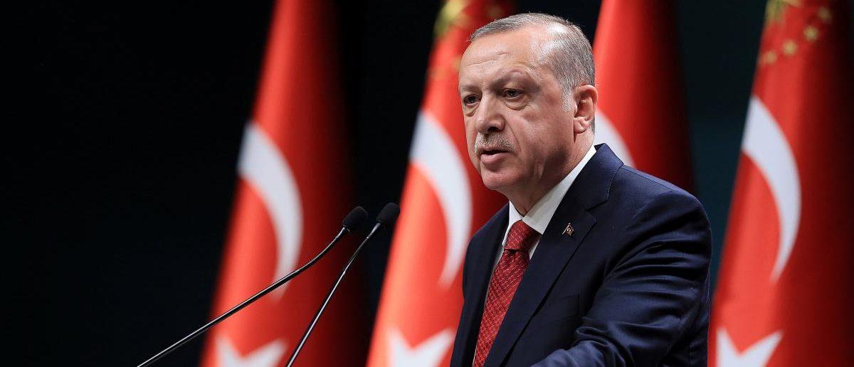 Turkish President Tayyip Erdogan addresses a news conference at the Presidential Palace in Ankara, Turkey, April 18, 2018. Murat Cetinmuhurdar/Presidential Palace/Handout via REUTERS
