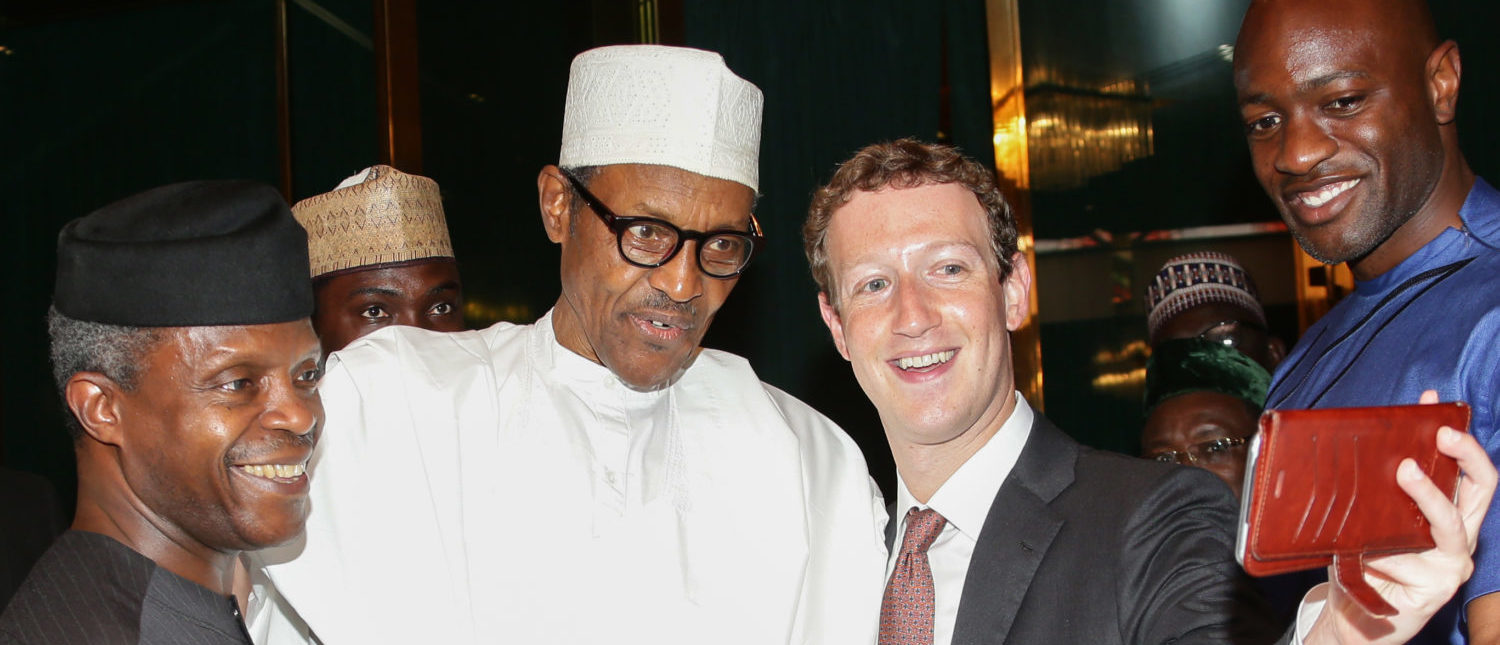 Nigerian President Muhammadu Buhari (C) and Vice President Yemi Osinbajo (L) pose as Facebook founder Mark Zuckerberg (2nd R) takes a selfie picture with them, during a visit to the presidential palace in Abuja, on September 2, 2016. Nigerian President Muhammadu Buhari on September 2 praised Facebook founder Mark Zuckerberg for inspiring young entrepreneurs during his surprise visit to the west African country this week, his office said. Zuckerberg who arrived in Nigeria on Tuesday and has met with young entrepreneurs at information technology and computer centres in the country's commercial hub of Lagos and the capital Abuja. (Photo: SUNDAY AGHAEZE/AFP/Getty Images)