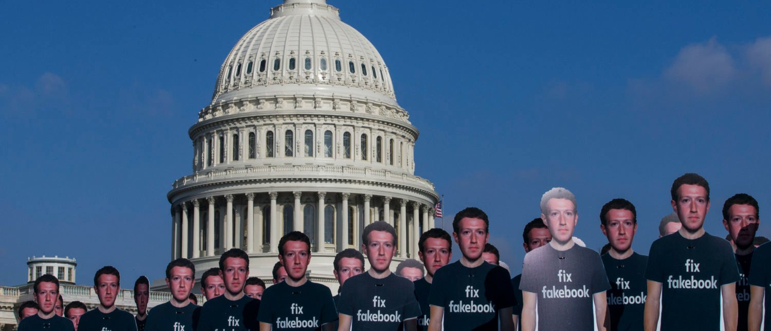 WASHINGTON, DC - APRIL 10: 100 life-sized cutouts of Facebook CEO Mark Zuckerberg sit on the lawn of the U.S. Capitol on April 10, 2018 in Washington, DC. The advocacy group Avaaz placed the cutouts on the lawn to bring attention to the alleged hundreds of millions of fake accounts still spreading disinformation on Facebook ahead of Zuckerberg's hearing before the Senate Commerce, Science, and Transportation and Senate Judiciary Comittees. (Photo by Zach Gibson/Getty Images)