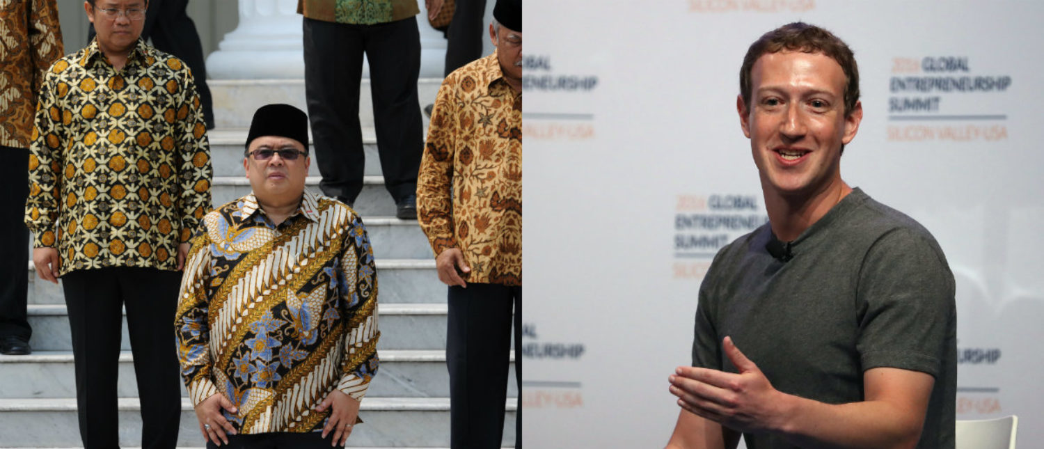 Left: Top Indonesian officials (Photo: ROMEO GACAD/AFP/Getty Images) Right: Mark Zuckerberg in Stanford, California (Photo by Justin Sullivan/Getty Images)