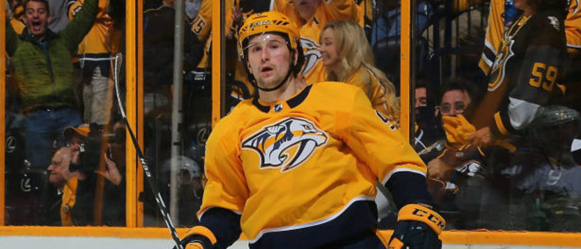NASHVILLE, TN - APRIL 12:  Filip Forsberg #9 of the Nashville Predators reacts after scoring a goal against the Colorado Avalanche during the third period of a 5-2 Predators victory in Game One of the Western Conference First Round during the 2018 NHL Stanley Cup Playoffs at Bridgestone Arena on April 12, 2018 in Nashville, Tennessee.  (Photo by Frederick Breedon/Getty Images)