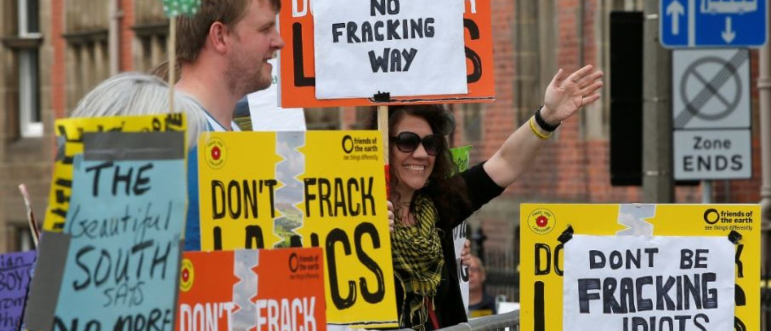 Anti-fracking protesters demonstrate outside County Hall in Preston, Britain June 24, 2015. Lancashire County Council is debating an application by shale gas firm Cuadrilla Resources to frack on the Fylde coast, local media reported. REUTERS/Andrew Yates | Enviros Should Remember This On Earth Day