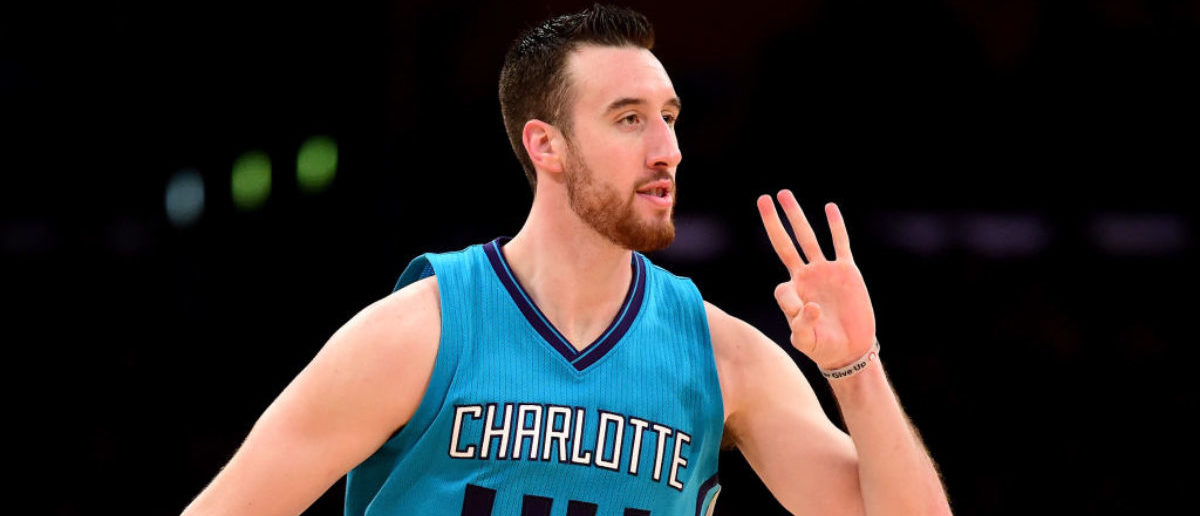 LOS ANGELES, CA - FEBRUARY 28: Frank Kaminsky III #44 of the Charlotte Hornets reacts to his three pointer during a 109-104 win over the Los Angeles Lakers at Staples Center on February 28, 2017 in Los Angeles, California. (Photo by Harry How/Getty Images)