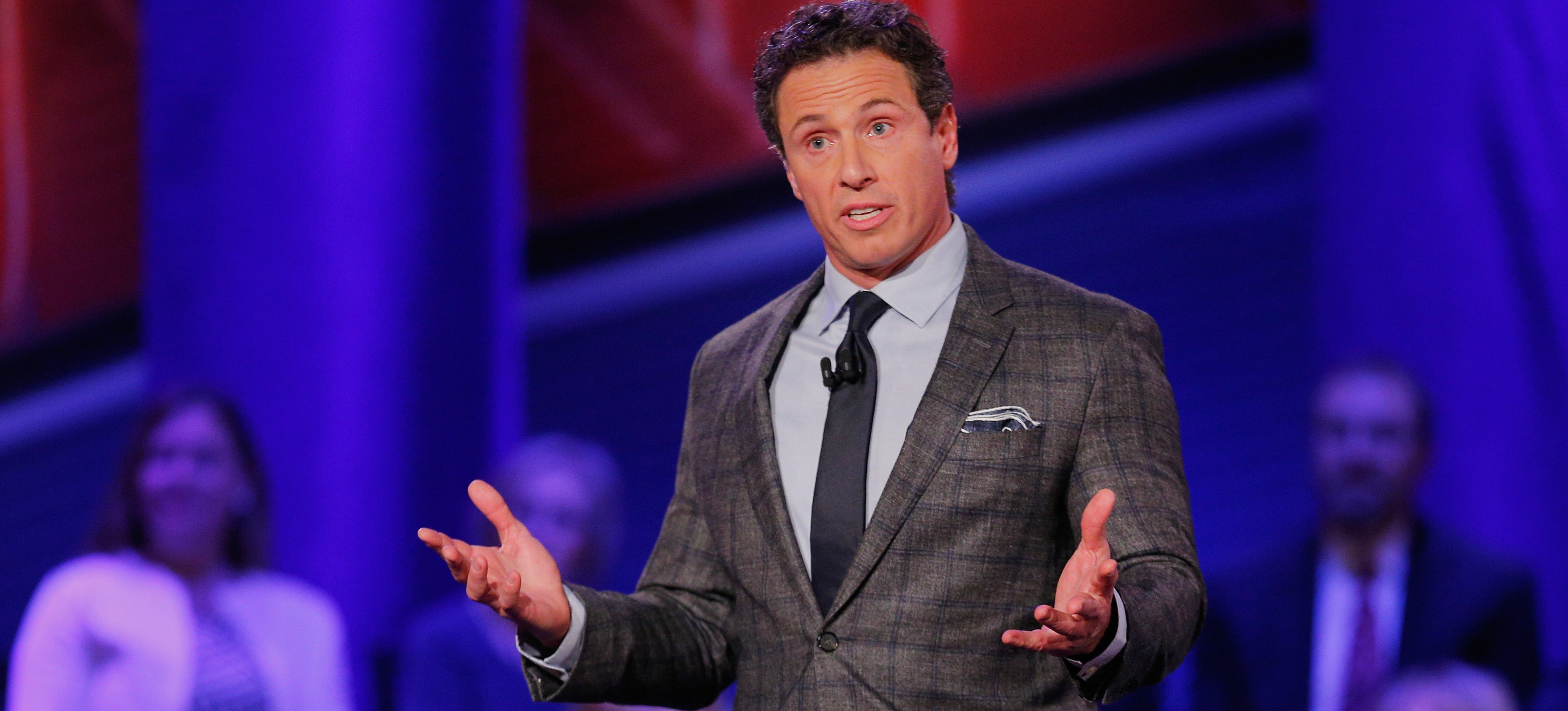 DES MOINES, IA - JANUARY 25: Moderator Chris Cuomo speaks at a town hall forum hosted by CNN at Drake University on January 25, 2016 in Des Moines, Iowa. Democratic presidential candidates Senator Bernie Sanders, Hillary Clinton and Martin O'Malley are scheduled to speak at the event. (Photo by Justin Sullivan/Getty Images)