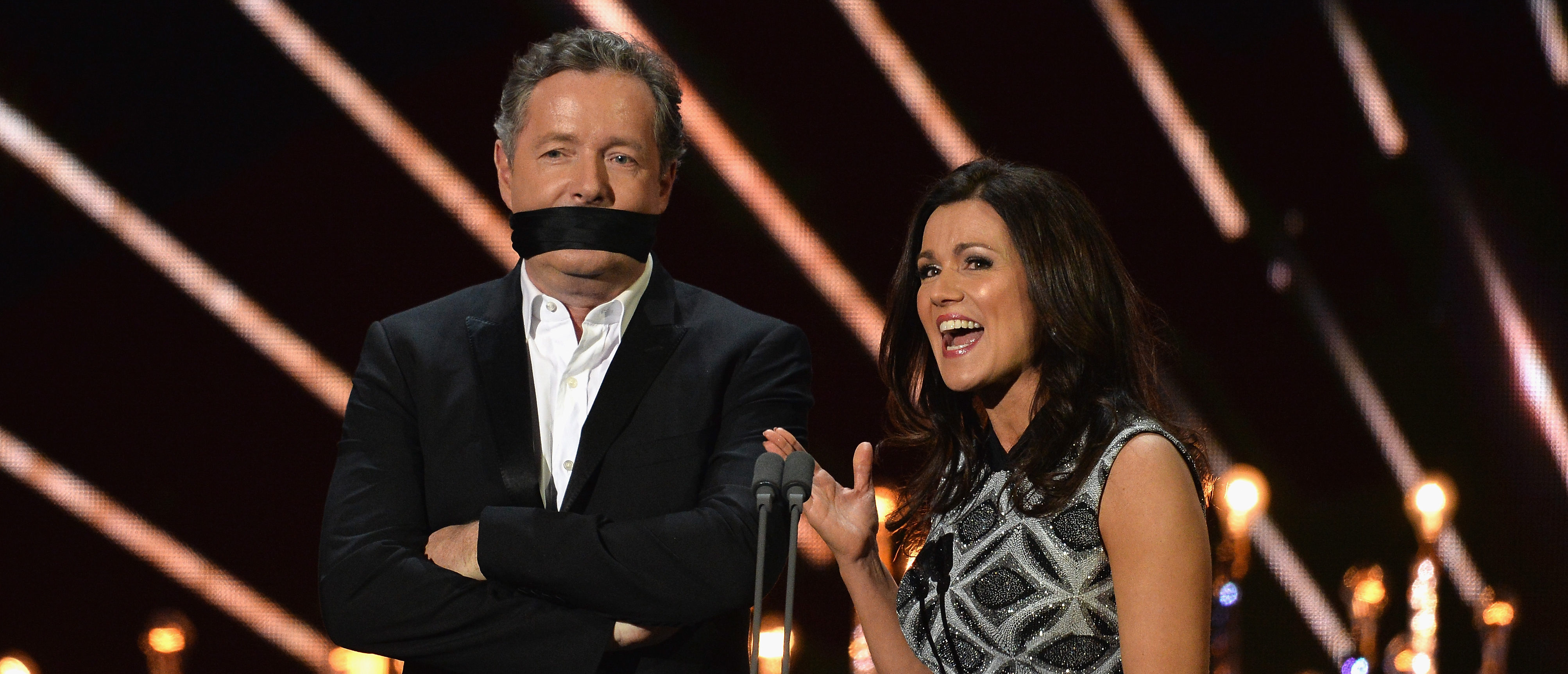 LONDON, ENGLAND - JANUARY 25: Piers Morgan and Susanna Reid on stage during the National Television Awards at The O2 Arena on January 25, 2017 in London, England. (Photo by Jeff Spicer/Getty Images)