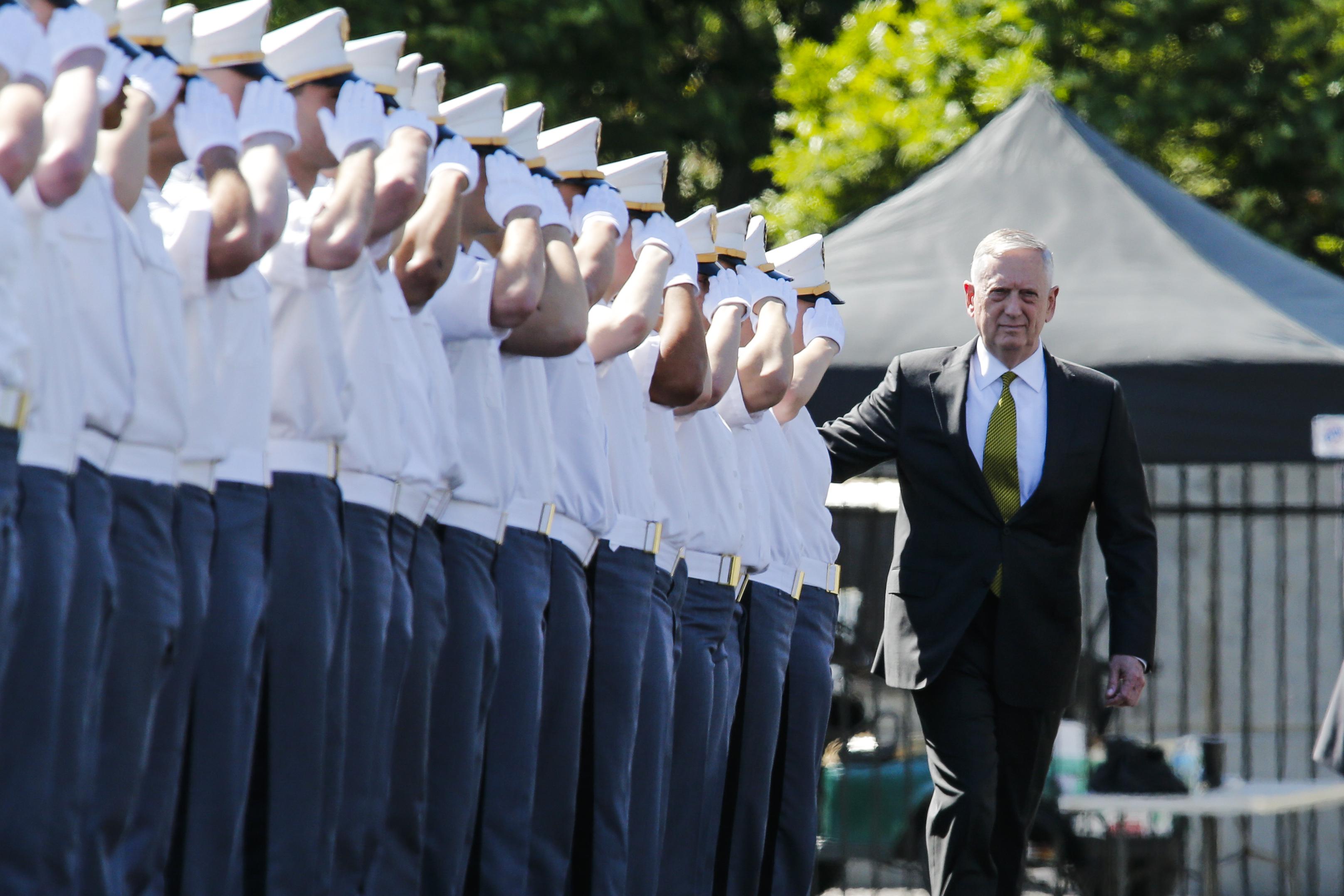 U.S. Defense Secretary Jim Mattis arrives to attend the U.S. Military Academy Class of 2017 graduation ceremony (Photo credit: Eduardo Munoz Alvarez/Getty Images)