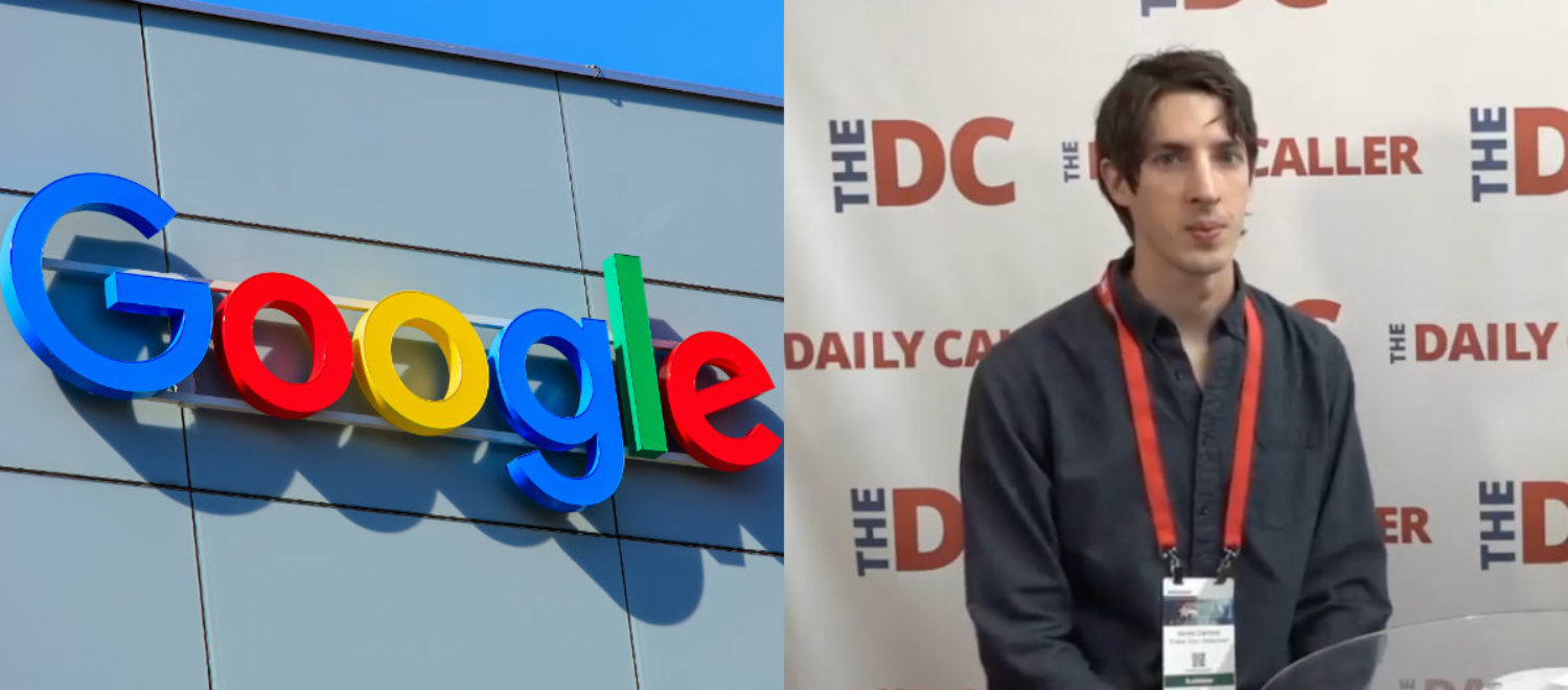 Left: Google logo [Shutterstock - Denis Linine] Right: James Damore during an interview with The Daily Caller News Foundation.