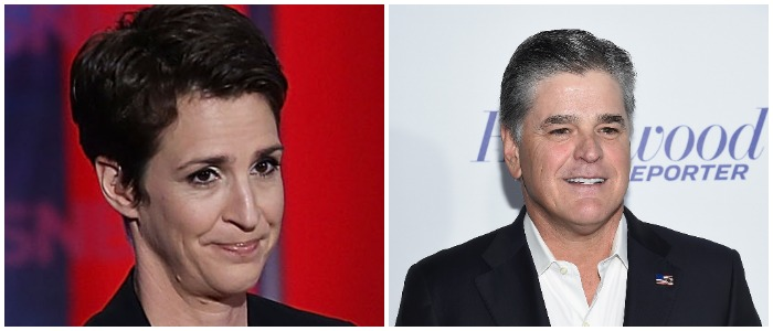 Hannity Maddow Left: Photo by Justin Sullivan/Getty Images Right: Photo by Dimitrios Kambouris/Getty Images for The Hollywood Reporter