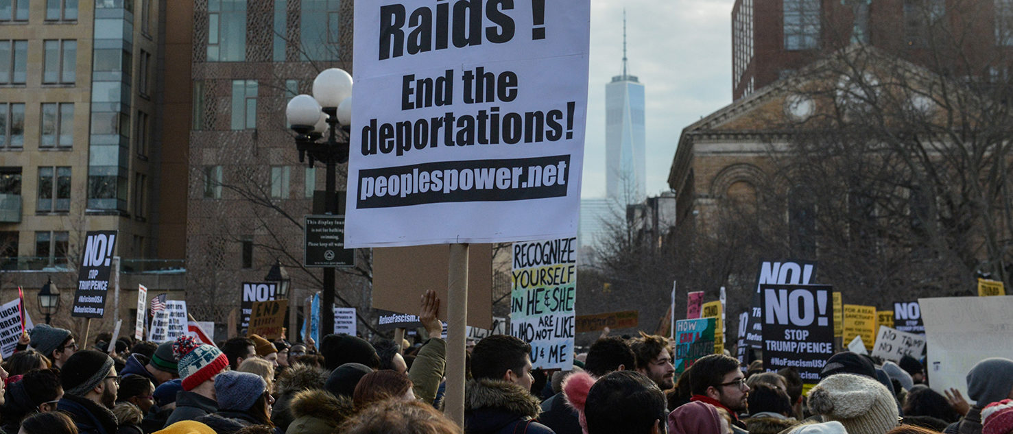 People participate in a protest against U.S. President Donald Trump's immigration policy and the recent Immigration and Customs Enforcement (ICE) raids in New York City, U.S. February 11, 2017. REUTERS/Stephanie Keith