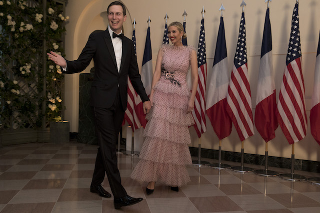 WASHINGTON, DC - APRIL 24: Jared Kushner and Ivanka Trump arrive at the White House for a state dinner April 24, 2018 in Washington, DC . President Donald Trump is hosting French President Emmanuel Macron for the first state visit of his presidency. (Photo by Aaron P. Bernstein/Getty Images)