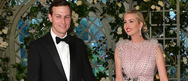 Ivanka Trump and husband Jared Kushner, Trump's senior advisor arrive in the Booksellers Area of the White House to attend a state dinner honoring French President Emmanuel Macron on April 24, 2018 in Washington, DC. (Photo by MANDEL NGAN / AFP) (Photo credit should read MANDEL NGAN/AFP/Getty Images)