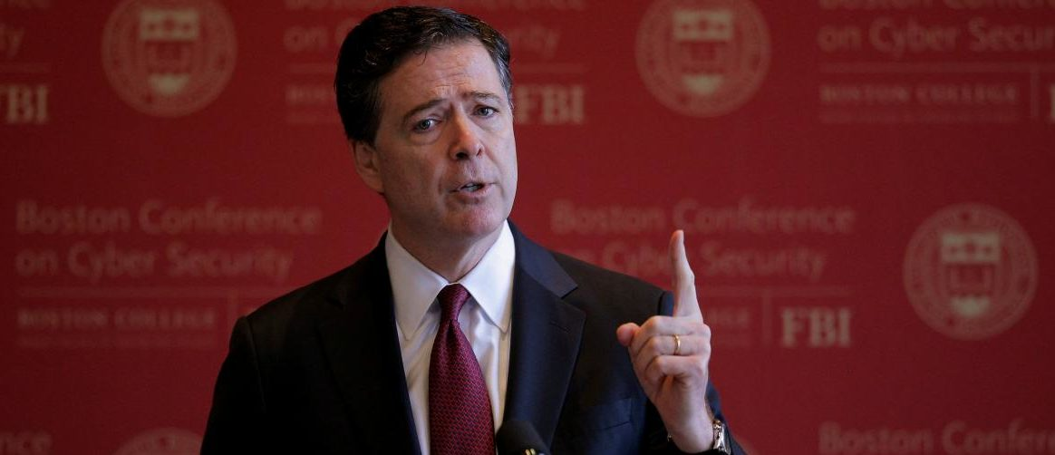 FILE PHOTO: FBI Director James Comey speaks at the Boston Conference on Cyber Security at Boston College in Boston, Massachusetts, U.S., March 8, 2017. REUTERS/Brian Snyder/File Photo