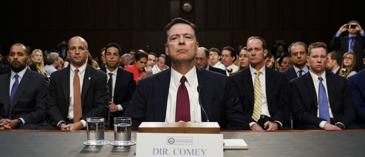 Former FBI Director James Comey testifies before a Senate Intelligence Committee hearing on Russia's alleged interference in the 2016 U.S. presidential election on Capitol Hill in Washington, U.S., June 8, 2017. REUTERS/Jonathan Ernst | DOJ Dings Comey Over Clinton Emails