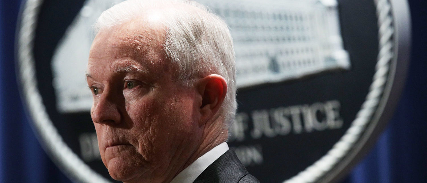 WASHINGTON, DC - NOVEMBER 29: U.S. Attorney General Jeff Sessions listens during a news conference at the Justice Department November 29, 2017 in Washington, DC. Sessions announced the Justice Department will fund more than $12 million in grants to assist law enforcement agencies and to establish a new DEA field division in the Appalachian Mountain region to combat the opioid crisis. (Photo by Alex Wong/Getty Images) | Jeff Sessions Zero Tolerance Policy