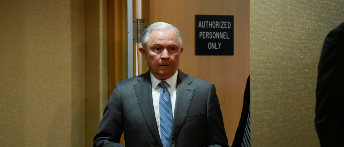 U.S. Attorney General Sessions speaks during a news conference at the Department of Justice in Washington