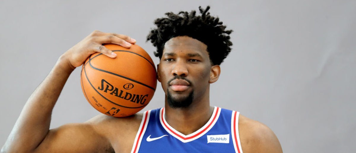 CAMDEN, NJ - SEPTEMBER 25: Joel Embiid #21 of the Philadelphia 76ers poses for a portrait during the Philadelphia 76ers Media Day on September 25, 2017 at the Philadelphia 76ers Training Complex in Camden, New Jersey. (Photo by Abbie Parr/Getty Images)