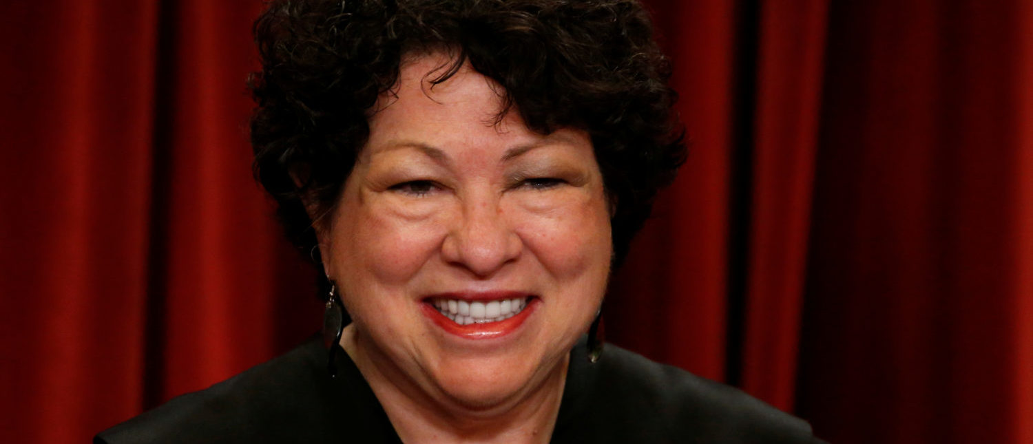 U.S. Supreme Court Justice Sonia Sotomayor participates in taking a new family photo with her fellow justices at the Supreme Court building in Washington, D.C., U.S., June 1, 2017. REUTERS/Jonathan Ernst
