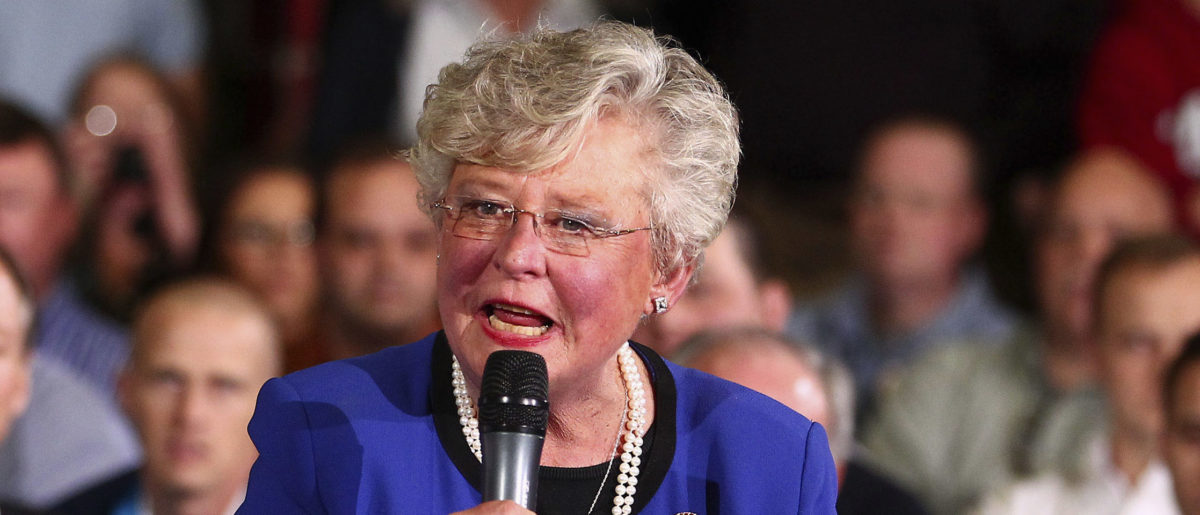Alabama Lieutenant Governor Kay Ivey speaks to a crowd before U.S. Republican presidential candidate Mitt Romney's speaks to workers and followers, at Thompson Tractor in Birmingham, Alabama March 9, 2012. REUTERS/Marvin Gentry