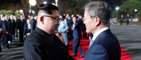 South Korean President Moon Jae-in shakes hands with North Korean leader Kim Jong Un as Kim leaves after a farewell ceremony at the truce village of Panmunjom inside the demilitarized zone separating the two Koreas, South Korea, April 27, 2018.   Korea Summit Press Pool/Pool via Reuters   NK Media: Kim Is Ready To Denuclearize via Reuters