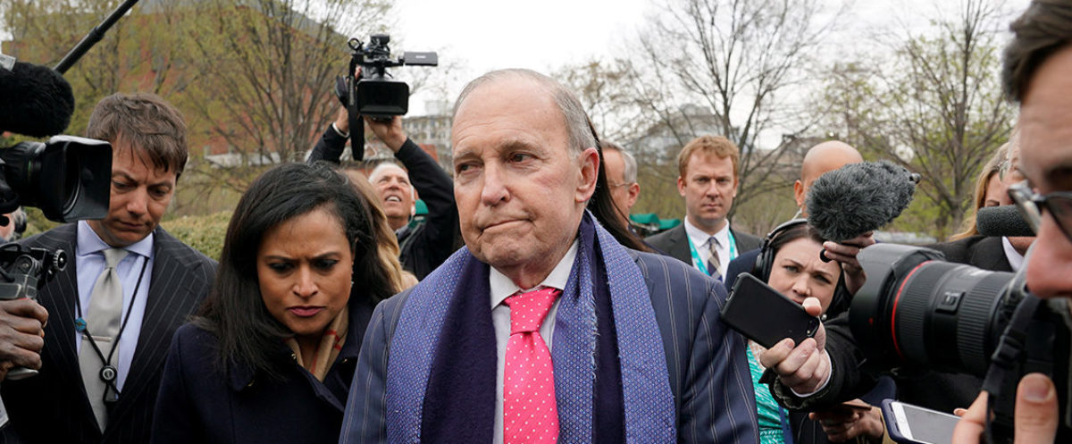 U.S. President Donald Trump's economic adviser Larry Kudlow is trailed by reporters after speaking at the White House in Washington, U.S., April 6, 2018. REUTERS/Kevin Lamarque   Kudlow Apologizes To Haley