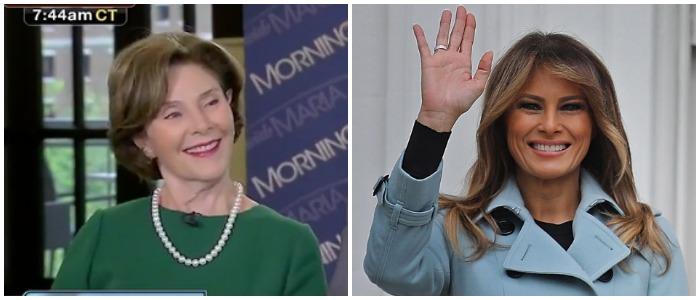 Laura Bush Melania Trump Left: Fox Business screenshot Right: Chip Somodevilla/Getty Images
